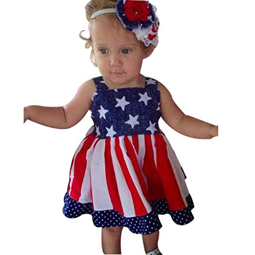 (July 4th American Flag Dress Striped Stars Print Sleeveless for Baby Girls Party Princess Dresses 0-4 Years (Red, 2-3)