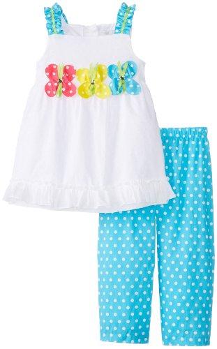 Rare Editions Little Girls' Butterfly Applique Capri Set, White/Turquoise, 5