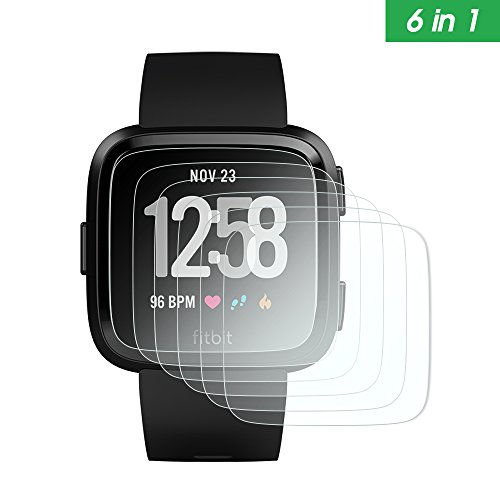 AWINNER Screen Protector for Fitbit Versa Premium HD Clear with Free Lifetime Replacement Warranty/Ultra High Definition Invisible and Anti-Bubble Crystal Shield (HD Clear-6Pack)