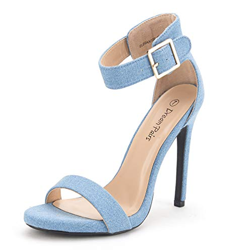DREAM PAIRS Women's Elegantee Blue Jean Pumps Heel Sandals Size 10 -