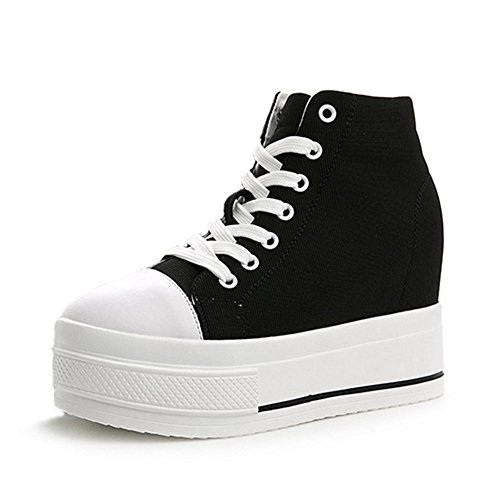 Wedges Platform Formal Up Heel Womens Sneaker Top Canvas High Black Walking Lace Shoe Hidden q1wI5tRBt