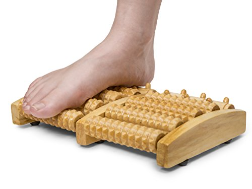 Dual Wooden Foot Massager Roller - Relieve Relieves Plantar Fasciitis, Heel Spur, Heel & Foot Feet Arch Pain & Aches - Stress Relief - Acupressure/Reflexology Tool - Gift Idea