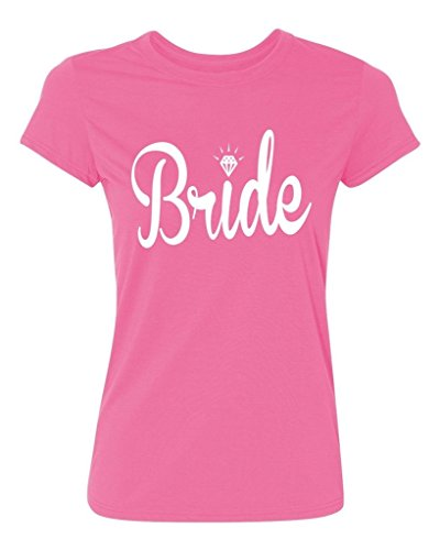 Bride Womens Pink T-shirt - P&B Wedding Bride (white text) Women's T-shirt, XL, Azalea Pink