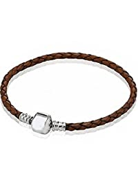 Genuine Real Braided Leather Bracelet (choose Pink, Black, Champagne or Brown and Choose Your Size)