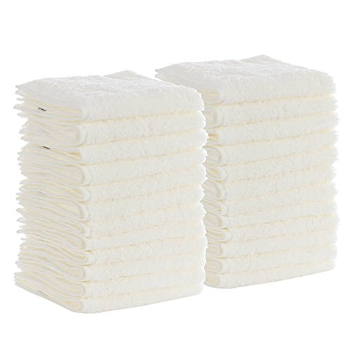 DINY Home & Style 100% Cotton Washcloths, 24 - Pack, White Terry Cloth Highly Absorbent by DINY Home & Style