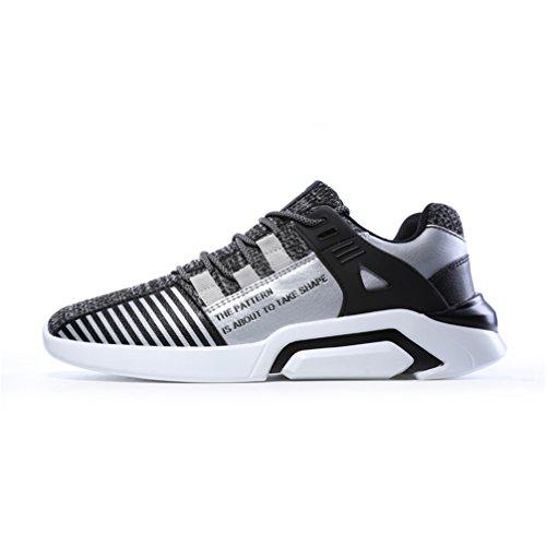 KuBua Herren Laufschuhe Indoor und Outdoor Sport Athletic Fitness Fashion Sneaker Casual Weiß Schwarz B Grau