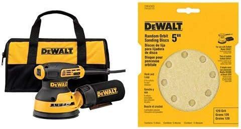 5 with DEWALT DW4301 5-Inch 8 Hole 80 Grit Hook and Loop Random Orbit Sandpaper 5-Pack DEWALT DWE6421K Random Orbit Sander Kit