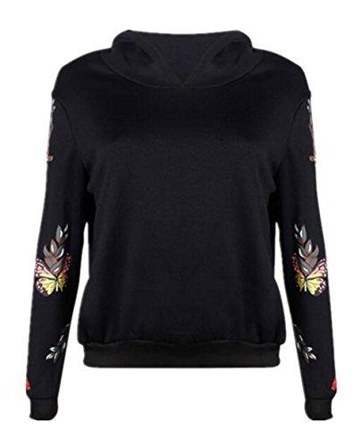 Maglia Sweater Camicia Caldo Donna Sport Elegante Casuale Black Cappuccio Farfalla Felpe Pullover Con Hoodie Aivosen Stampato Sweatshirt ZnwFqA0g0