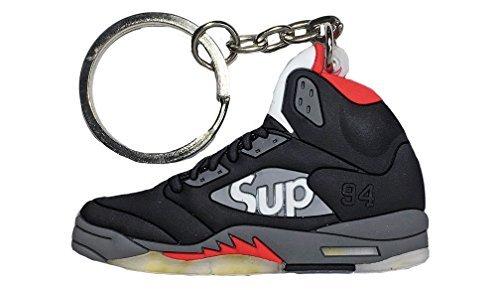 12a6554fc1a Nike Jordan 5 V Black Red Supreme 2D Flat Sneaker Keychain by SPUSA