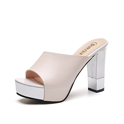 Bottom PU Summer Apricot High Womens Heel Peep Sandals Thick Wedge Outdoor Slides Platform Anti Toe Slip gHwXxR