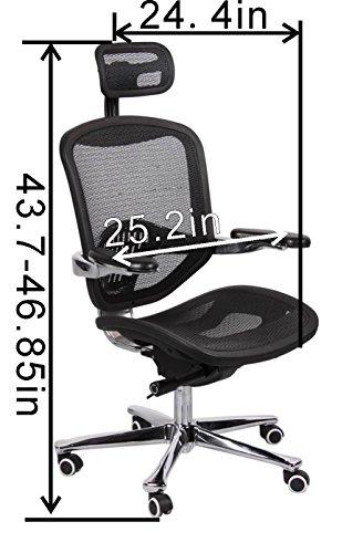 OFFICE FACTOR, Ergonomic Executive Mesh Chair High Back Aluminum Frame Seat Slider Designer Base ()