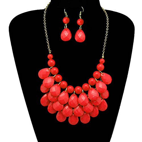 Coral Bubble Red (CharmsStory Vintage Red Beaded Bubble Bib Chunky Statement Pendant Necklace Earrings Set For Gifts)