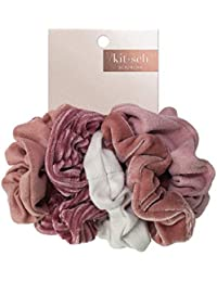 Velvet Scrunchies for Hair, Hair Scrunchies for Women, Scrunchy Hair Bands, 5 Pack (Blush/Mauve)