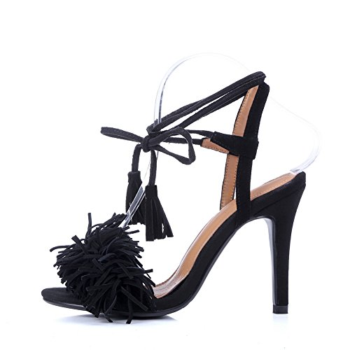 Black Style Urethane Fringed Ankle Baguette Womens MJS03089 1TO9 Wrap Sandals PnBzUqnw