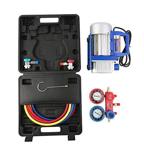 Simoner 1/4HP 3CFM Air Vacuum Pump HVAC Refrigeration Kit, R134a Aluminum AC Manifold Gauge Set, QC19 Adapter & Couplers Adapters & Hose Kit