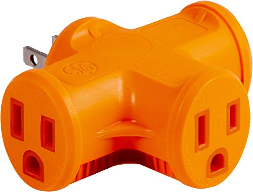 GE 3 Outlet T-Shaped Adapter, Power Outlet Extender, Grounded Wall Tap, Heavy Duty, UL Listed, Orange, 50281