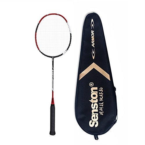 Senston S-330 Single Carbon Fiber Badminton Racquet High String Badminton Racket Red with Racket Cover by Senston (Image #1)