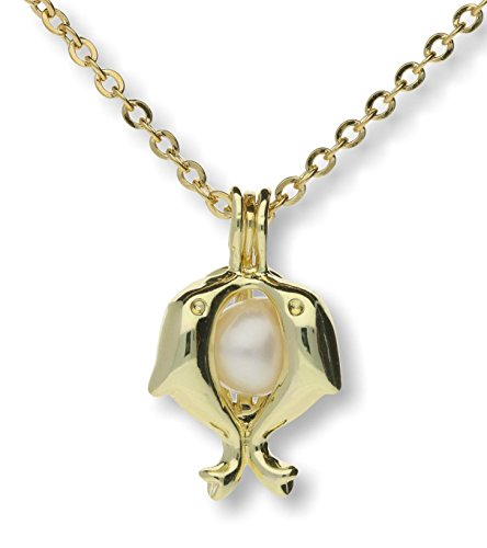 Pearlina Dolphins Cultured Pearl in Oyster Necklace Set Gold Plated Cage w/Stainless Steel Chain 18
