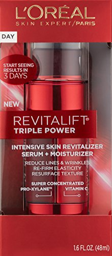 L'Oréal Paris Skincare Revitalift Triple Power Intensive Skin Revitalizer, Face Moisturizer + Serum with Vitamin C and Pro-Xylane for Fine Lines and Wrinkles, 1.6 fl. oz.