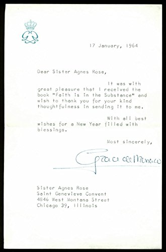 Grace Kelly Signed 5.25x8.25 1964 Letter On Personal Stationary PSA - Signed Letter Personal