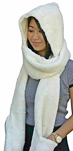 Fur Hoodie Cream (AM Landen Best Quality Thick/Soft Winter Warm Hoodie Gloves Pocket Hat Scarf Snood 3-in-1(Cream Beige))