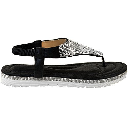 Low Ladies Leather Flat Sandals Summer Black Embellished Heel Faux Size Wedge Womens Low Diamante F8d6qqw