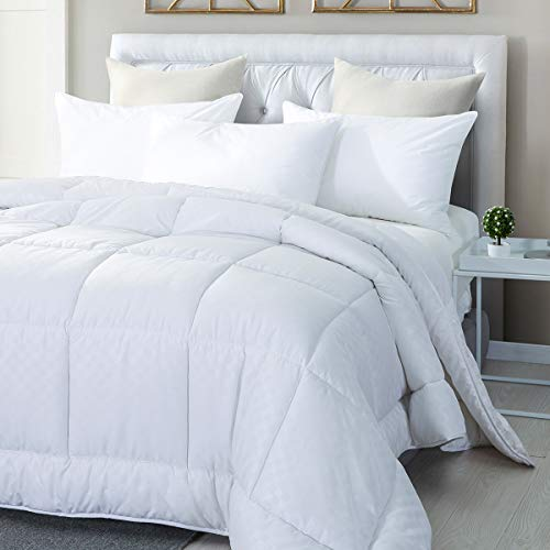 Premium Embossed Polyester Down Alternative Overfilled Comforter / Duvet Insert with 4 Corner Tabs - 100% Hypo allergenic Polyfill - Luxury Fluffy Hotel Collection for All Season-King Size (Polyester Duvet Insert)