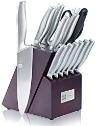 Cutlery Knife Block Set 15-piece Chef's Knife Sets Durable Stainless Steel Kitchen Knives Sharpener Home Cooking Essential Gift Set