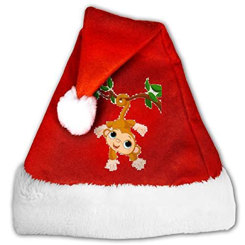 FQWEDY Cute Baby Monkey On A Tree Unisex-Adult's Santa Hat, Velvet Christmas Festival Hat