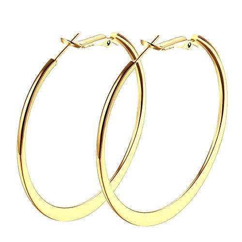 Hoop Earrings, 18K Gold Plated Flattende Hoops Earrings for Women Girls ()