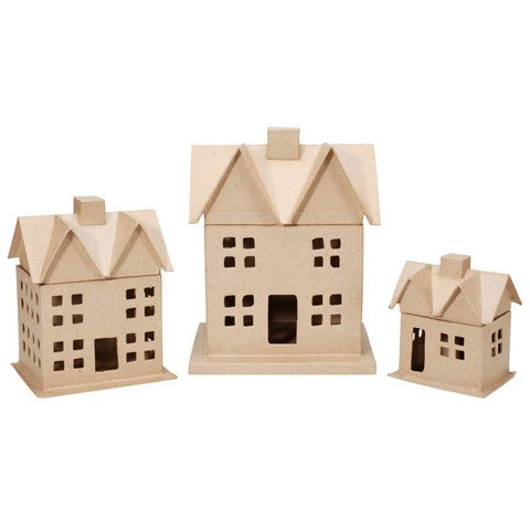 Bulk Buy: Darice DIY Crafts Paper Mache House Box Set 12 x 8-1/2 in 3 pieces (4-Pack) 2863-01