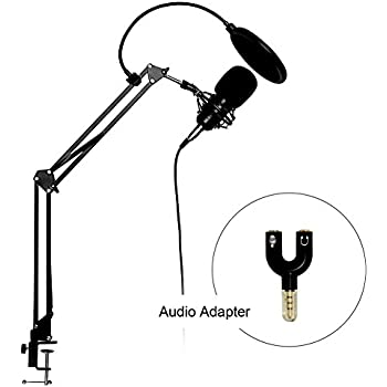 Artempo Professional Studio Condenser Microphone with Adjustable Recording Microphone Stand for Laptop, PC and Smartphone