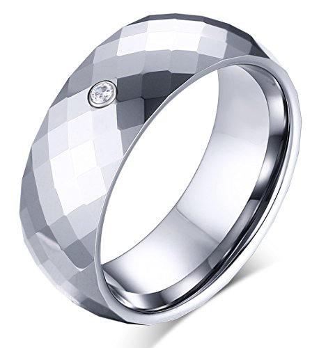 MAIKEDIAO 8mm Classic Diamond Faceted Polished Tungsten Carbide Wedding Band Rings For Men Beveled Edge Silver -