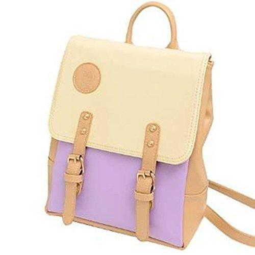 YOPO New Retro Vintage Casual Women's Backpack School Bag Fashion Travel School PU Leather Handbag ipad bag, four colors avaliable (Purple)