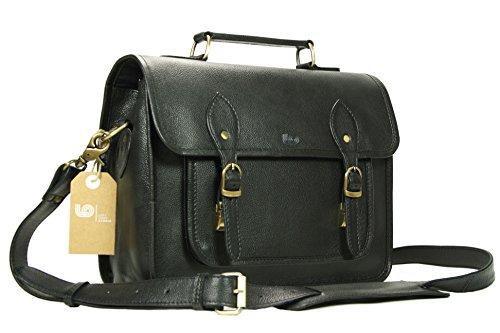 Leftover Studio Leather Camera Bag DSLR Messenger Shoulder Case with Removable Camera Insert 13 Inch Black