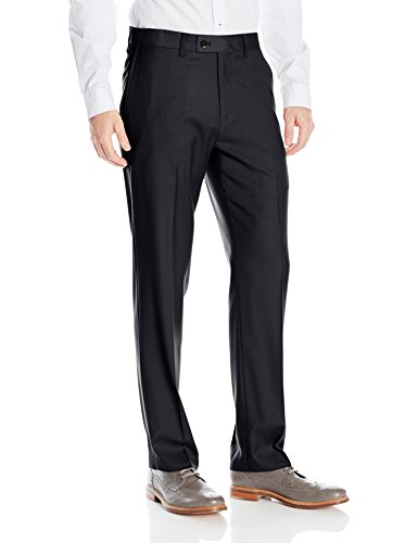 Louis Raphael Men's Rosso Washable Wool Blend Flat Front Comfort Dress Pant, Navy, 44W x 32L