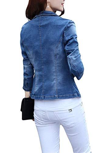 Con Autunno Jeans Outerwear Blau Fashion Tasche Ragazza Cappotto Slim Classica Denim Giacche Manica Donna Adattamento Fit Primaverile Button Elegante Lunga Giacca wz4OS4