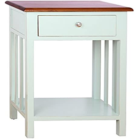 Emerson End Table Distressed Look Aqua