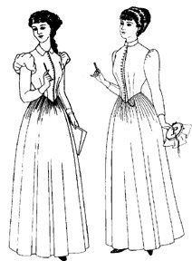 Victorian Sewing Patterns- Dress, Blouse, Hat, Coat, Mens 1880-1892 Day Dress Pattern $19.00 AT vintagedancer.com