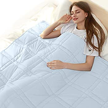 Image of HDCAXKJ Weighted Blanket Adult 15 lbs (48'x72' for Twin or Full Size Bed), 100% 400TC Cotton Heavy Blankets with Glass Beads, Light Blue HDCAXKJ B07WDJT4QL Weighted Blankets