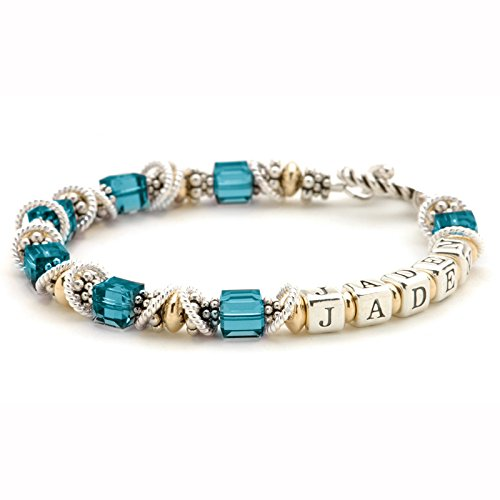 Personalized Mommy Bracelet - December Birth Month Crystals, Sterling Silver & 14k Gold Filled Beads