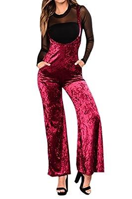 Fixmatti Women Velvet Straps High Waist Flare Suspenders Pant Bib Jumpsuit Overalls