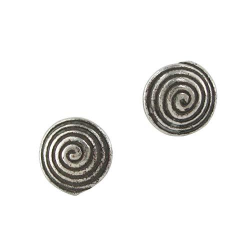 Sterling Silver Swirl Round Stud Post Earrings