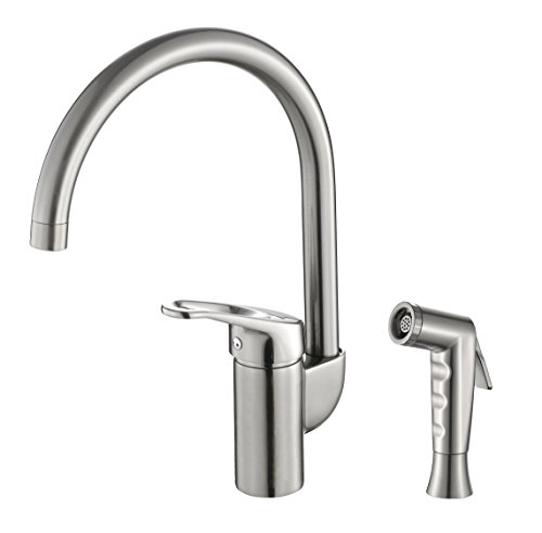 Grana Dish Genie Agrion Modern Single Handle Kitchen Faucet with Side Spray & Washing Sponges (Brushed Nickel) by Grana (Image #1)