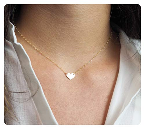 (Fremttly Womens Simple Delicate Handmade 14K Gold Filled Rose Gold Simple Delicate Heart and Bar Necklace Chokers)