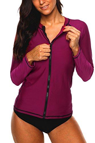 Vegatos Women's Swim Rashguard Long Sleeve Sun Shirt Colorblock Swim Top Zipper - Zipper Colorblock