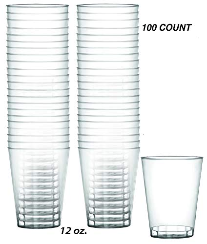 Heavy Duty 12 oz Crystal-Clear Party Tumblers   100 Count Pack   Disposable or Reusable ()