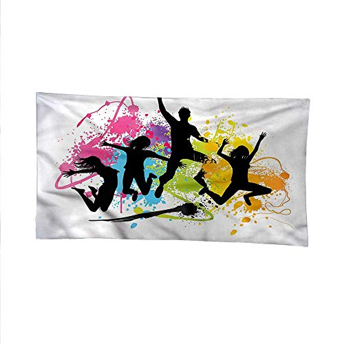 Youthoutdoor tapestryceiling tapestryJumping Teens Spray Paint 93W x 70L Inch