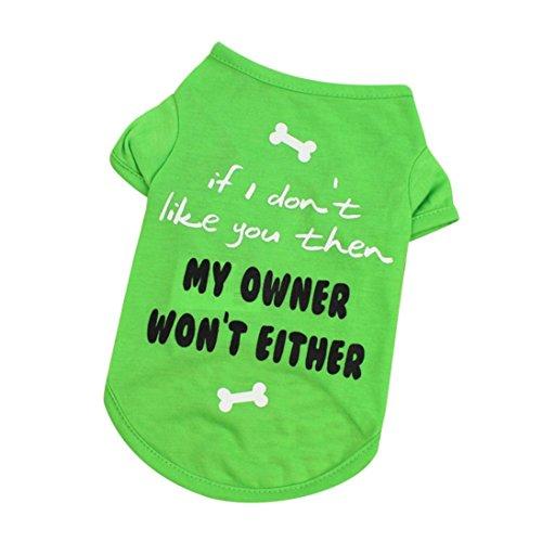 Wakeu Pet Shirt Small Dog Cat Clothes Puppy Vest T-Shirt Pet Summer Apparel Costume (M, Green)