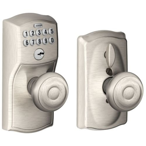 Schlage FE595 CAM 619 GEO Camelot Keypad Entry with Flex-Lock and Georgian Style Knobs, Satin Nickel